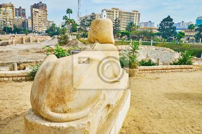 Antyczny sfinks w Aleksandrii, Egipt