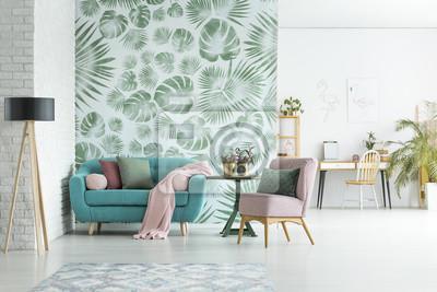Obraz Apartament z tapetą w kwiaty