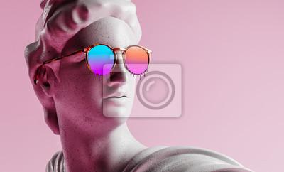 Obraz Apollo style design background vaporwave concept. 3d Rendering.