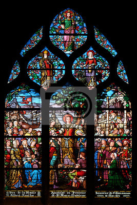 Obraz Apostolate of St. Mary Magdalene, stained glass window in Saint Severin church in Paris, France