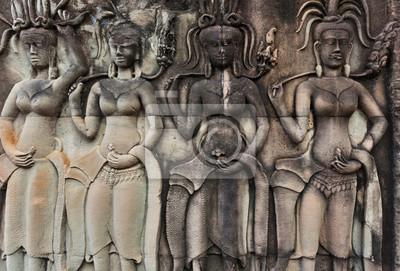 Apsara na ścianie Angkor Wat
