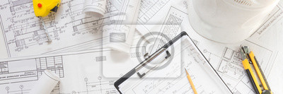 Obraz architect design working drawing sketch plans blueprints and making architectural construction model in architect studio,flat lay