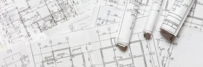Obraz architect design working drawing sketch plans blueprints and making architectural construction model in architect studio,flat lay.