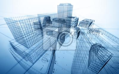 Obraz architecture abstract blueprint