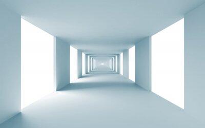 Obraz Architektura abstrakcyjna tła 3d, pusty korytarz niebieski