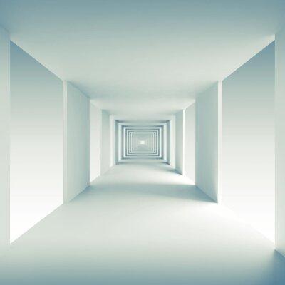 Obraz Architektura abstrakcyjna tła 3d, pusty korytarz perspektywa