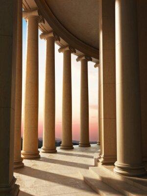 Obraz Architektura kolumny na tle zachodu słońca