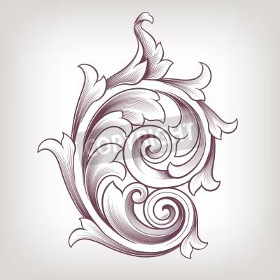 Obraz Archiwalne barokowy elementem przewijania projektowania motyw kwiatowy wzór