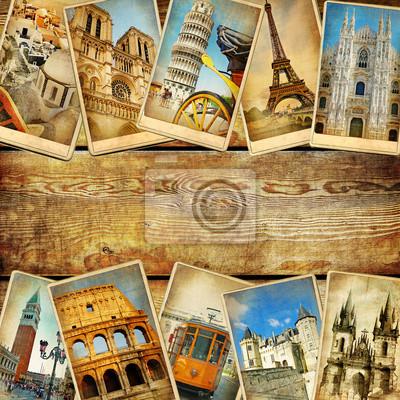 archiwalne karty kolaż z miejsca dla tekstu - European podróży