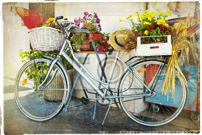 archiwalne karty z roweru i kwiatów