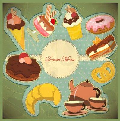 Obraz archiwalne karty z truskawek i deser czekoladowy