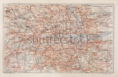 Obraz Archiwalne mapy Londynu i okolicy - Zdjęcie z kolekcji książek Meyers Leksykon (napisane w języku niemieckim) wydana w 1908 roku.