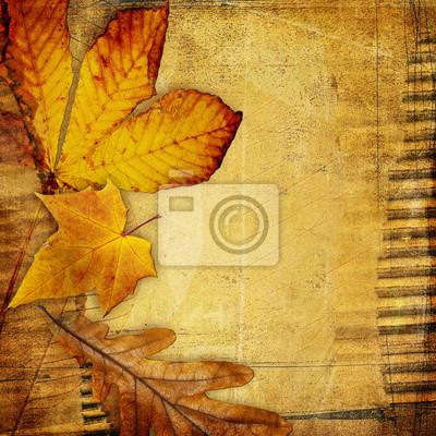 archiwalne papieru tła z liści jesienią