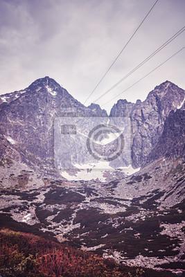 Archiwalne stonowanych obraz szczytu Lomnicky w Tatrzańskim Parku Narodowym, Słowacja.