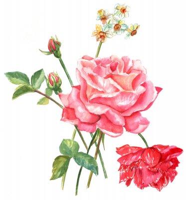 Obraz Archiwalne styl akwarela z róż i innych kwiatów bukiet
