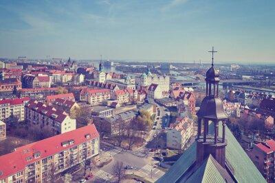 Archiwalne stylizowane zdjęcie lotnicze miasta Szczecina, Polska.