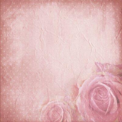 Obraz Archiwalne tła dla zaproszenie lub gratulacyjny z róż