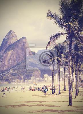 Archiwalne tła. Retro tropikalnej plaży w Rio de Janeiro, Braz