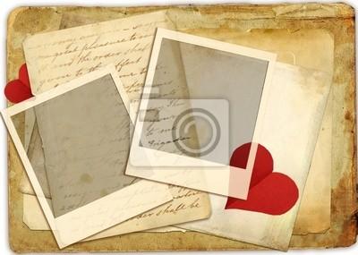 archiwalne tła Romantick z serca i list miłosny