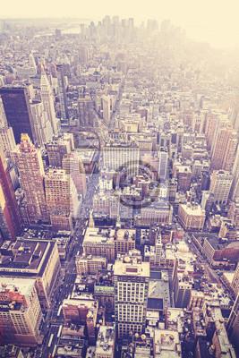 Archiwalne zdjęcie z lotu ptaka stylizowane New York City, USA śródmieścia