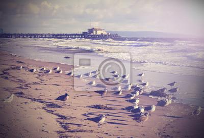 Archiwalne zdjęcie z plaży w Santa Monica, Kalifornia, USA.