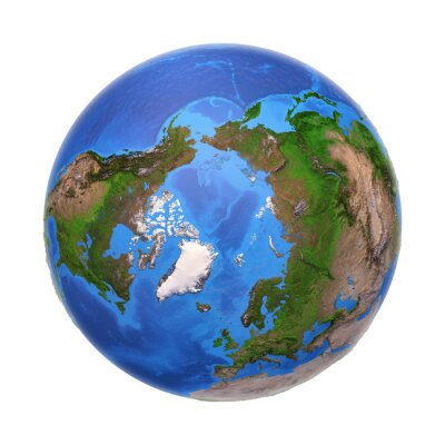 Arctic from space in summer, with high bump effect