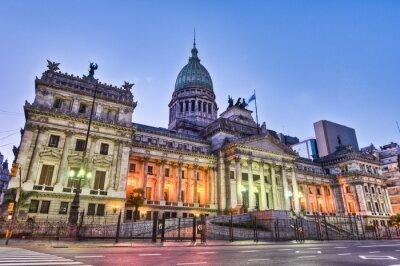 Obraz Argentyna elewacji budynku Narodowy Kongres na zachodzie słońca.