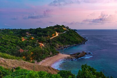 Arial view seascape landscape nature and island with night sky