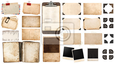 Obraz arkusze papieru, zabytkowe książki, stare ramki i narożniki, antiqu