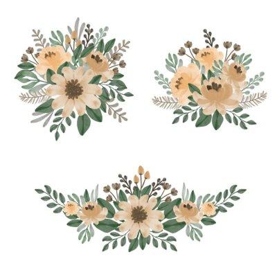 Obraz Arrangement of floral watercolor in gold element. gold wreath. floral vector design