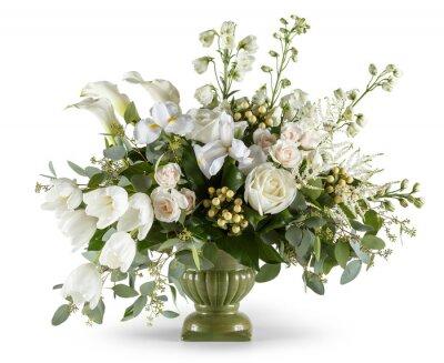 Obraz Arrangement of white flowers in green vase