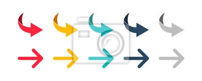 Obraz Arrow set icon. Colorful arrow symbols. Arrow isolated vector graphic elements.