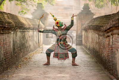 Obraz Art culture Thailand Dancing in masked khon(Mime) in literature ramayana,Tos-Sa-Kan is character in thailand,A mime or mime artist is a person who uses mime as a performance art.
