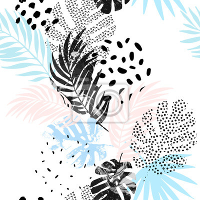 Art illustration: rough grunge tropical leaves filled with marble texture, doodle elements background.