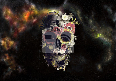 Obraz Artistic Drawn Illustration Of A Skull In Roses On An Abstract Colorful Cloudy Background