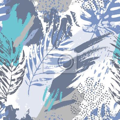 Artistic summer grunge seamless pattern.