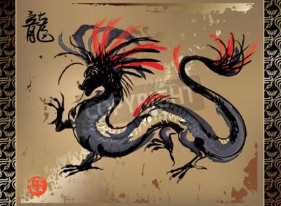 Obraz Artystyczne Japoński smok rysunek w stylu orientalnym