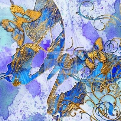 artystycznej abstrakcji z motyli niebieski