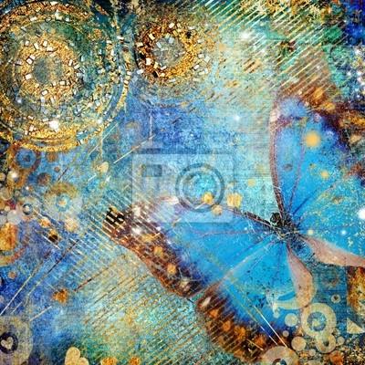 artystycznej niebiesko lśniące tło z motylem