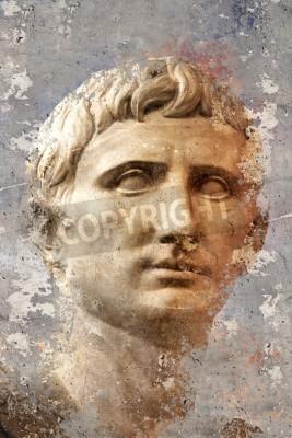 Obraz Artystyczny portret z teksturą tle, klasyczna rzeźba grecka