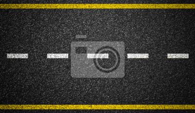 Obraz Asfalt drogowy autostrady oznaczeniami tle