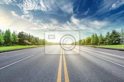 Obraz Asfaltowa droga i zielony lasu krajobraz pod niebieskim niebem