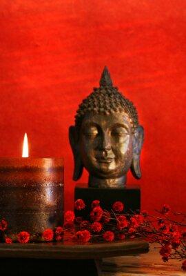 Obraz Asian motyw ze świecą i głowy Buddy