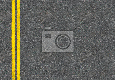 Obraz Asphalt road top view with two yellow lines