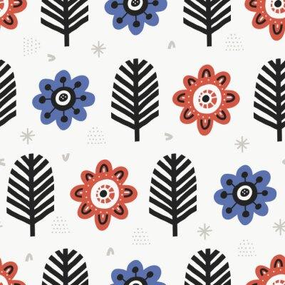 Obraz Aster blossoms flat color vector seamless pattern. Cartoon plants on white background. Hand drawn red and blue vintage flowers illustration. Textile, wallpaper, wrapping paper design idea