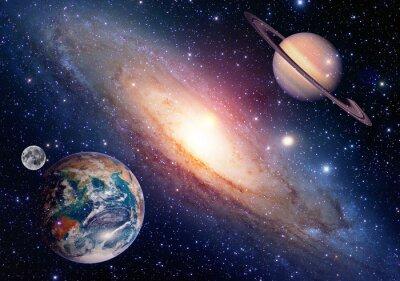 Obraz Astrologia astronomia miejsce planeta ziemia księżyc Saturna tworzenie układu słonecznego. Elementy tego zdjęcia dostarczone przez NASA.