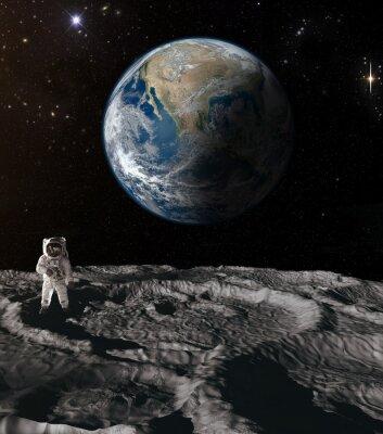 Obraz Astronauta na księżycu.