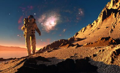 Obraz Astronauta na planecie.