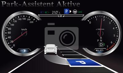 Asystent parkowania. Deska rozdzielcza samochodu, nowa technologia. Projekcja, Tachometr.speedometer.Sensors w samochodzie