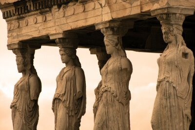 Obraz Ateny, Grecja - kariatydy, rzeźbione postacie kobiet